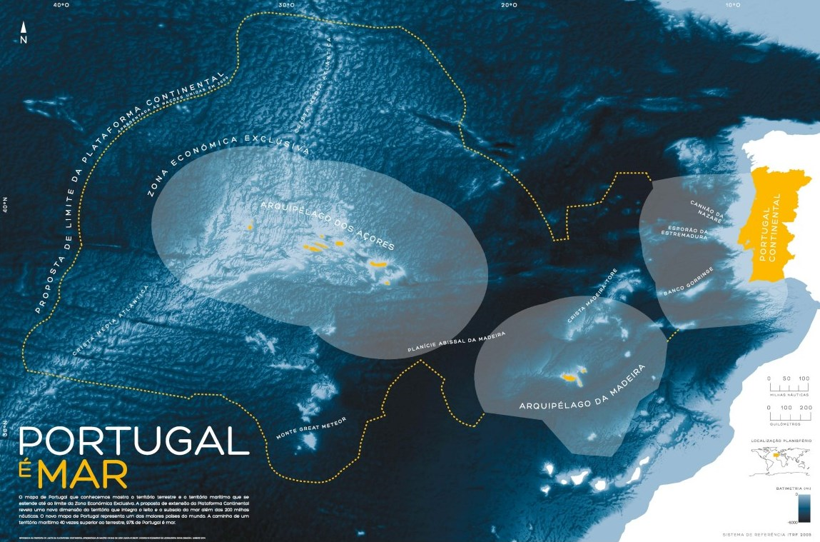Portugal possui a 3ª maior Zona Económica Exclusiva da União Europeia e a 11ª do mundo.